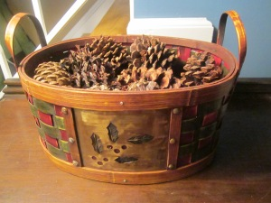 basket to hold pine cones